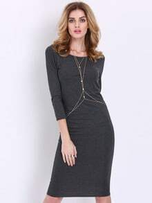 Grey Charcoal Round Neck Casual Dress