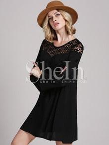 Vestido manga larga crochet encaje -negro