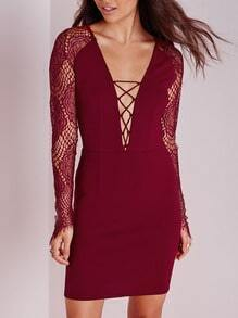 Wine Red Burgundy Long Sleeve Deep V Neck With Lace Dress