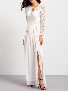 Whites Long Sleeve With Lace Split Maxi Dress
