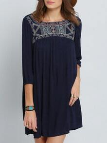 Navy Broderie Long Sleeve Tribal Embellishments Embroidered Dress