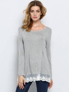 Grey Long Sleeve Quilting Pane Colourblock With Lace T-Shirt