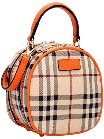 Orange Plaid Zipper PU Shoulder Bag pictures