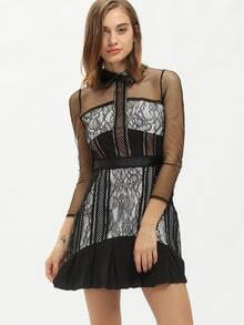 Black Doll Collar Long Sleeve Haute Hollow Mesh Insert Eyelash Lace Dress