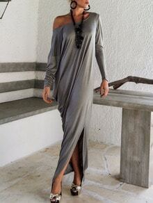 Grey Oblique Shoulder Boatneck Bat Sleeve Slit Dress