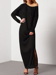 Black Oblique Shoulder Boatneck Bat Sleeve Slit Dress