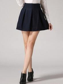 Navy High Waist Woolen Skirt