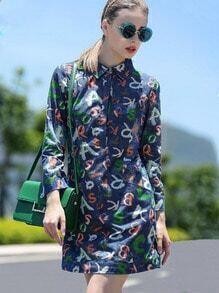 Multicolor Lapel Length Sleeve Letters Print Denim Dress