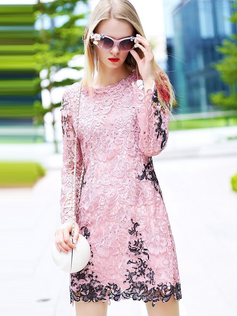 Pink Round Neck Long Sleeve Embroidered Lace Dress