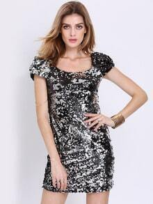Black Cap Sleeve Sparkles Sequined Bodycon Dress