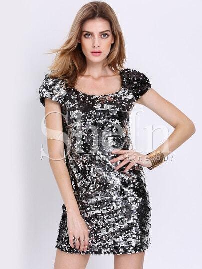 Black Cap Sleeve Sparkles Sequined Bodycon Dress