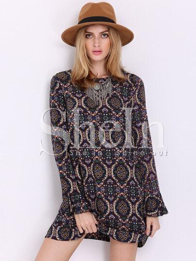 Multicolor Long Sleeve Camo Vintage Print Dress
