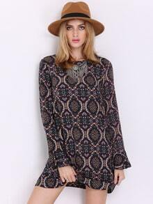 Multicolor Long Sleeve Camo Vintage Print Dress