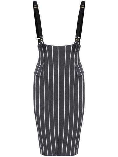 Dark Grey Strap Vertical Stripe Skirt