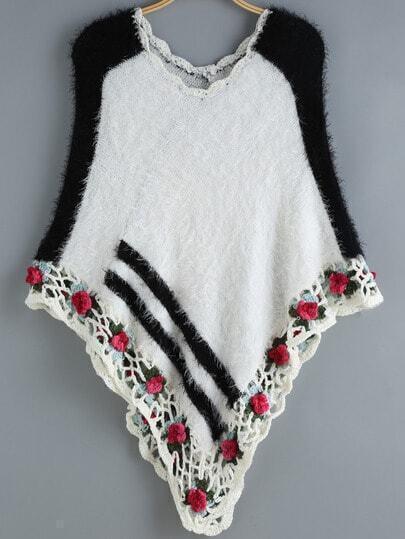 White Black Floral Crochet Cape