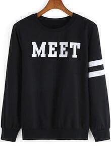Black Round Neck MEET Print Sweatshirt
