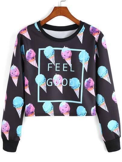 Multicolor Round Neck Ice Cream Patterned Print Crop Sweatshirt
