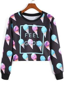 Multicolor Round Neck Ice Cream Patterned Print Crop Sweatshirt