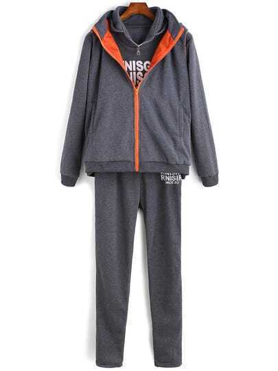 Grey Hooded Letters Print Two Pieces Top With Pant