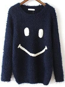 Navy Round Neck Smile Pattern Casual Sweater
