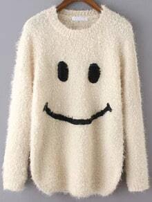 Beige Round Neck Smile Pattern Casual Sweater