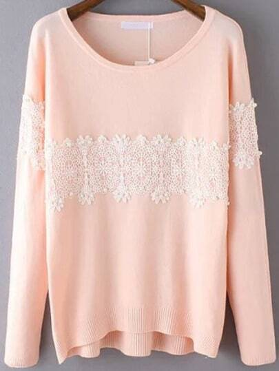 Pink Round Neck Lace Embellished Knitwear