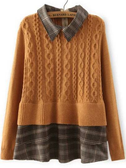 Khaki Lapel Plaid Hem Cable Knit Sweater