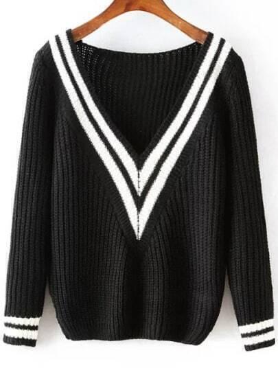 Black V Neck Striped Knit Sweater