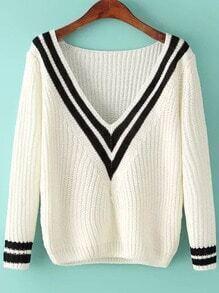 White V Neck Striped Knit Sweater