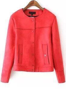 Red Round Neck Buttons Crop Jacket