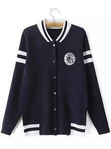 Navy Stand Collar Striped Loose Jacket