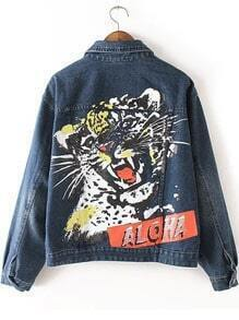 Blue Lapel Leopard Print Crop Denim Jacket