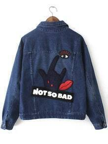 Navy Lapel Hand Lip Embroidered Crop Jacket