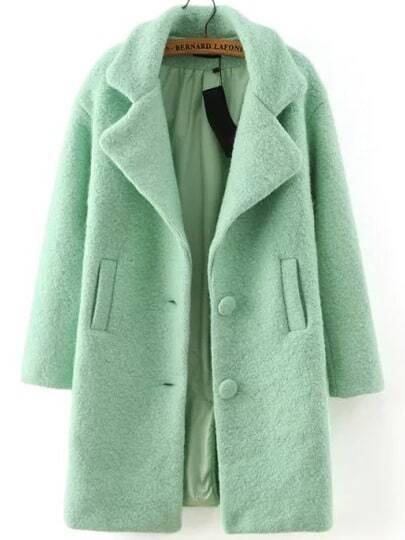 Green Lapel Single Breasted Woolen Coat