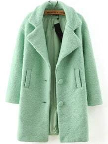 Green Lapel Single Breasted Woolen Coat