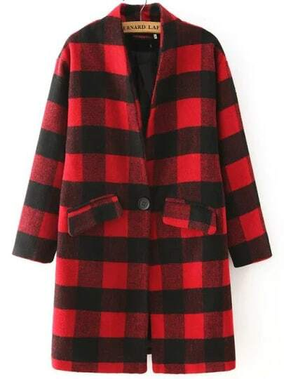 Red Black Stand Collar Plaid Coat