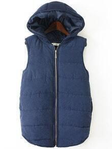 Blue Hooded Zipper Casual Vest