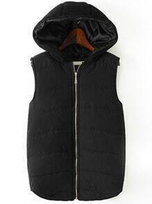 Black Hooded Zipper Casual Vest