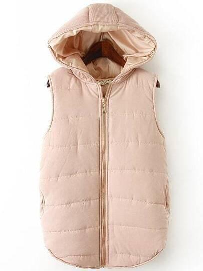 Pink Hooded Zipper Casual Vest