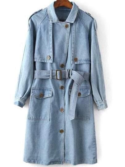 Blue Coat Lapel Epaulet Tie-waist Denim Trench Coat