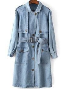 Blue Lapel Epaulet Tie-waist Denim Trench Coat