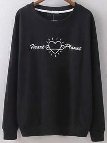 Sudadera cuello redondo letras corazón bordada -negro