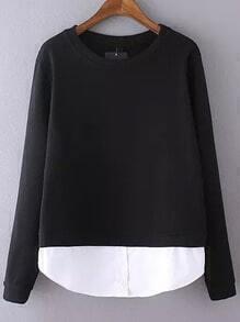 Black Round Neck Contrast Hem Sweatshirt