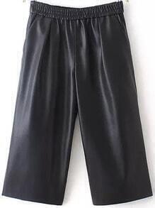 Black Elastic Waist Wide Leg PU Pant