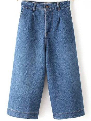 Blue Casual Wide Leg Denim Pant