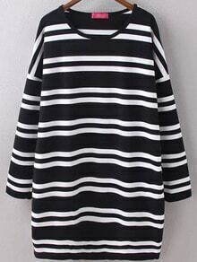 Black White Round Neck Striped Loose Dress