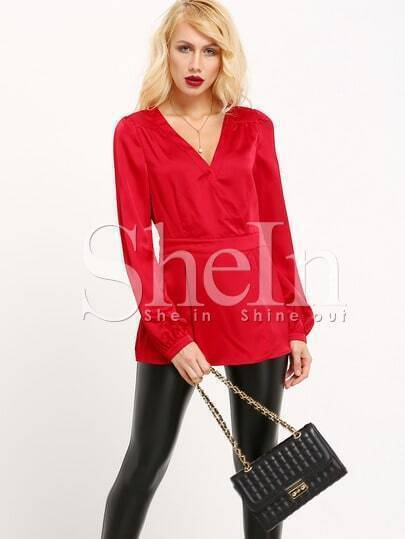 Red Long Sleeve Deep V Neck Blouse