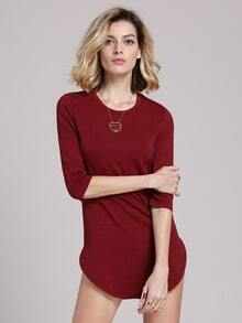 Wine Red Oxblood Round Neck Split Casual Dress