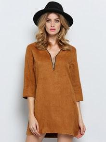 Brown Bronze Suede Half Sleeve V Neck Zipper Dress