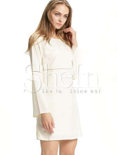 Apricot Long Sleeve Casual Dress